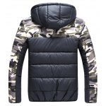 cheap Color Block Camouflage Hooded Quilted Jacket
