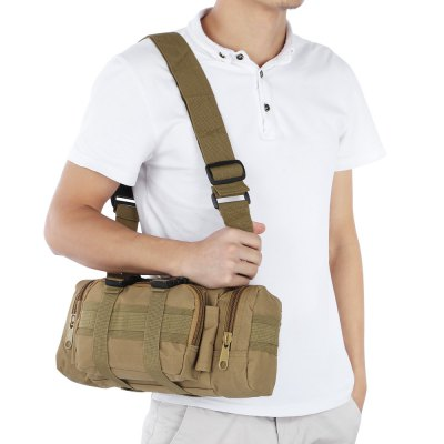 Military Style 1000D Waterproof Nylon Waist Bag Shoulder Bag for Wild Adventure Climbing Hiking and Riding etc. - Black