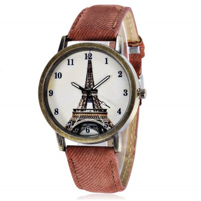 Quartz Watch with Tower Pattern / Arabic Numerals