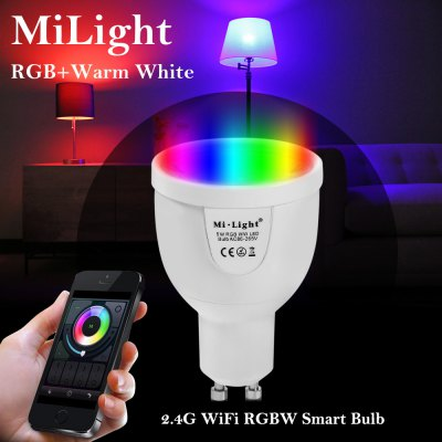 MiLight WiFi LED Spot BulbSmart Lighting<br>MiLight WiFi LED Spot Bulb<br><br>Available Light Color: RGB + Warm White,RGB + White<br>Body Color: White<br>Brand: MiLight<br>Emitter Types: SMD 5730<br>Features: WiFi, Remote Control, Long Life Expectancy, Energy Saving, Easy to use, APP Control<br>Function: Commercial Lighting, Home Lighting, Studio and Exhibition Lighting<br>Holder: GU10<br>Luminous Flux: 220LM<br>Output Power: 5W<br>Package Contents: 1 x MiLight Smart Bulb<br>Package size (L x W x H): 8.50 x 6.50 x 6.50 cm / 3.35 x 2.56 x 2.56 inches<br>Package weight: 0.1190 kg<br>Product size (L x W x H): 7.50 x 5.00 x 5.00 cm / 2.95 x 1.97 x 1.97 inches<br>Product weight: 0.0770 kg<br>Sheathing Material: Aluminum Alloy<br>Voltage (V): AC 86 - 265V