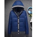 IFZ Color Block Button Embellished Hooded Down Jacket