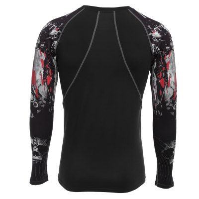 Printed Long Sleeves Compress Tight T-shirt for Fitness SportsWeight Lifting Clothes<br>Printed Long Sleeves Compress Tight T-shirt for Fitness Sports<br><br>Types: Long Sleeves<br>Size: 2XL,L,M,XL<br>Features: Breathable,High elasticity,Quick Dry<br>Gender: Men<br>Material: Polyester,Spandex<br>Color: Black<br>Product weight: 0.194 kg<br>Package weight: 0.220 kg<br>Package size: 30.00 x 20.00 x 5.00 cm / 11.81 x 7.87 x 1.97 inches<br>Package Content: 1 x Men Fitness T-shirt