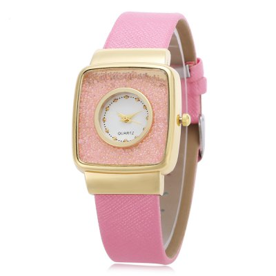 Quartz Watch with Square Dial for Women