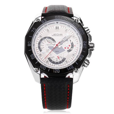 JEDIR 1007 Fashion Decorative Sub-dial Men Quartz WatchMens Watches<br>JEDIR 1007 Fashion Decorative Sub-dial Men Quartz Watch<br><br>Brand: JEDIR<br>Watches categories: Male table<br>Watch style: Fashion<br>Available color: Black,White<br>Movement type: Quartz watch<br>Shape of the dial: Round<br>Display type: Analog<br>Case material: Alloy<br>Band material: Leather<br>Clasp type: Pin buckle<br>Water resistance : Life water resistant<br>Dial size: 4.7 x 4.7 x 1.2 cm / 1.85 x 1.85 x 0.47 inches<br>Band size: 25.8 x 2.2 cm / 10.16 x 0.87 inches<br>Wearable length: 19.3 - 23.5 cm / 7.60 - 9.25 inches<br>Product weight: 0.069 kg<br>Package weight: 0.267 kg<br>Product size (L x W x H): 25.80 x 4.70 x 1.20 cm / 10.16 x 1.85 x 0.47 inches<br>Package size (L x W x H): 12.00 x 9.00 x 8.50 cm / 4.72 x 3.54 x 3.35 inches<br>Package Contents: 1 x JEDIR 1007 Fashion Men Quartz Watch, 1 x Box