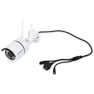 Szsinocam SZ - IPC - 7032SW 1.0MP WiFi IP CameraIP Cameras<br>Szsinocam SZ - IPC - 7032SW 1.0MP WiFi IP Camera<br><br>Alarm Notice: Email Photo<br>Backlight Compensation: No<br>Brand: Szsinocam<br>Color: White<br>Compatible Operation Systems: Windows 10,Windows 7,Windows 8<br>Electronic Shutter: 1/25s - 1/30,000s<br>Environment: Indoor<br>FOV: 72 degree<br>Image Adjustment: Brightness,Color saturation,Contrast,Hue<br>Image Freq.: 25fps<br>Infrared Distance: 30m<br>Infrared LED: 36pcs 5mm LEDs<br>IP camera performance: Motion Detection, Screenshot, Night Vision, Real-time video capture and recording<br>IP Mode : Dynamic IP address, static IP address<br>Language: Chinese,English,Portuguese,Russian<br>Maximum Monitoring Range: 20M<br>Minimum focus distance: 0.01 Lux<br>Minimum Illumination: 0.01 Lux<br>Mobile Access: Android,IOS<br>Model: SZ - IPC - 7032SW<br>Motion Detection Distance: 30m<br>Network Port: RJ-45<br>Operate Temperature (?): -20 to 50 Celsius degrees<br>Operating system: Microsoft Windows 2000,Microsoft Windows 7,Microsoft Windows 8,Microsoft Windows 98,Microsoft Windows Vista,Microsoft Windows XP<br>Package Contents: 1 x IP Camera, 3 x Screw, 3 x Expansion Bolt, 1 x Screw Driver, 2 x Antenna, 1 x Power Adapter, 1 x English User Manual<br>Package size (L x W x H): 20.00 x 11.00 x 10.00 cm / 7.87 x 4.33 x 3.94 inches<br>Package weight: 0.591 kg<br>Pixels: 1MP<br>Product size (L x W x H): 6.50 x 6.50 x 18.50 cm / 2.56 x 2.56 x 7.28 inches<br>Product weight: 0.345 kg<br>Protocol: DDNS,DHCP,DNS,FTP,HTTP,HTTPS,ICMP,IP,NAS,NTP,P2P,PPPOE,RTCP,RTP,RTSP,SMTP,SNMP,TCP,UPNP<br>Resolution: 1280 x 720<br>Sensor: CMOS<br>Sensor size (inch): 1/4<br>Shape: Bullet Camera<br>Technical Feature: Waterproof, Infrared<br>Video Compression Format: H.264<br>Video format: AVI<br>Video Standard: NTSC,PAL<br>Waterproof: IP66<br>Web Browser: IE,Microsoft Internet Explorer 6.0 above<br>White Balance: No<br>WiFi Distance : 40m no obstacles<br>Wireless: WiFi 802.11 b/g/n<br>Working Voltage: DC 12V / 1A