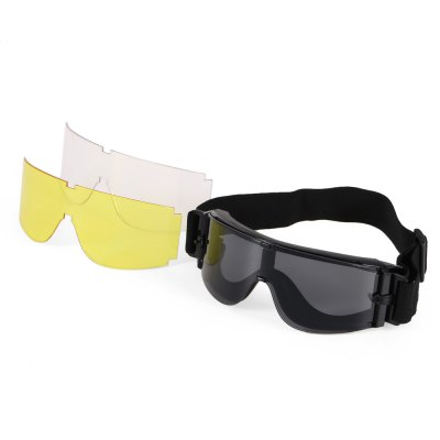 Three-color PC Lens Protective Glasses Goggle with Rubber PadOther Eyewear<br>Three-color PC Lens Protective Glasses Goggle with Rubber Pad<br><br>Frame material: ABS<br>Functions: Dustproof, Shockproof, Windproof<br>Lens height: 6.5cm<br>Lens material: High quality PC<br>Lens width: 17cm<br>Package Contents: 1 x Protective Glasses, 2 x Lens, 1 x Bag<br>Package size (L x W x H): 22.00 x 11.00 x 10.00 cm / 8.66 x 4.33 x 3.94 inches<br>Package weight: 0.3120 kg<br>Product size (L x W x H): 20.00 x 6.50 x 8.00 cm / 7.87 x 2.56 x 3.15 inches<br>Product weight: 0.0930 kg