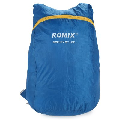 ROMIX RH30 Foldable BackpackBackpacks<br>ROMIX RH30 Foldable Backpack<br><br>Bag Capacity: 18L<br>Brand: ROMIX<br>Capacity: 11 - 20L<br>Features: Water Resistance, Ultra Light, Foldable<br>For: Traveling, Cycling, Casual<br>Material: Polyester<br>Package Contents: 1 x ROMIX RH30 Backpack<br>Package size (L x W x H): 12.00 x 12.00 x 5.00 cm / 4.72 x 4.72 x 1.97 inches<br>Package weight: 0.135 kg<br>Product size (L x W x H): 29.00 x 18.00 x 42.00 cm / 11.42 x 7.09 x 16.54 inches<br>Product weight: 0.075 kg<br>Strap Length: 33 - 76cm<br>Type: Backpack