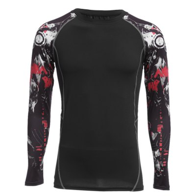 Printed Long Sleeves Compress Tight T-shirt for Fitness Sports