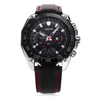 JEDIR 1007 Fashion Decorative Sub-dial Men Quartz WatchMens Watches<br>JEDIR 1007 Fashion Decorative Sub-dial Men Quartz Watch<br><br>Available Color: Black,White<br>Band material: Leather<br>Band size: 25.8 x 2.2 cm / 10.16 x 0.87 inches<br>Brand: JEDIR<br>Case material: Alloy<br>Clasp type: Pin buckle<br>Dial size: 4.7 x 4.7 x 1.2 cm / 1.85 x 1.85 x 0.47 inches<br>Display type: Analog<br>Movement type: Quartz watch<br>Package Contents: 1 x JEDIR 1007 Fashion Men Quartz Watch, 1 x Box<br>Package size (L x W x H): 12.00 x 9.00 x 8.50 cm / 4.72 x 3.54 x 3.35 inches<br>Package weight: 0.267 kg<br>Product size (L x W x H): 25.80 x 4.70 x 1.20 cm / 10.16 x 1.85 x 0.47 inches<br>Product weight: 0.069 kg<br>Shape of the dial: Round<br>Watch style: Fashion<br>Watches categories: Male table<br>Water resistance : Life water resistant<br>Wearable length: 19.3 - 23.5 cm / 7.60 - 9.25 inches