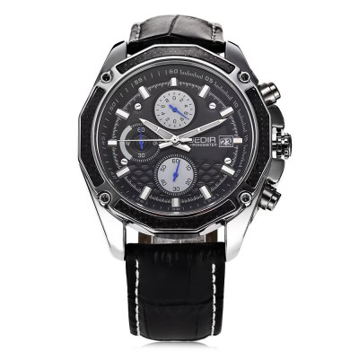 JEDIR 2015 Fashion Chronometer Men Quartz WatchMens Watches<br>JEDIR 2015 Fashion Chronometer Men Quartz Watch<br><br>Available Color: Black,Brown<br>Band material: Genuine Leather<br>Band size: 26 x 2.2 cm / 10.24 x 0.87 inches<br>Brand: JEDIR<br>Case material: Stainless Steel<br>Clasp type: Pin buckle<br>Dial size: 4.3 x 4.3 x 1.4 cm / 1.69 x 1.69 x 0.55 inches<br>Display type: Analog<br>Movement type: Quartz watch<br>Package Contents: 1 x JEDIR 2015 Fashion Men Quartz Watch, 1 x Box<br>Package size (L x W x H): 12.00 x 9.00 x 8.50 cm / 4.72 x 3.54 x 3.35 inches<br>Package weight: 0.278 kg<br>Product size (L x W x H): 26.00 x 4.30 x 1.40 cm / 10.24 x 1.69 x 0.55 inches<br>Product weight: 0.080 kg<br>Shape of the dial: Round<br>Watch style: Fashion<br>Watches categories: Male table<br>Water resistance : Life water resistant<br>Wearable length: 19.1 - 23.4 cm / 7.52 - 9.21 inches