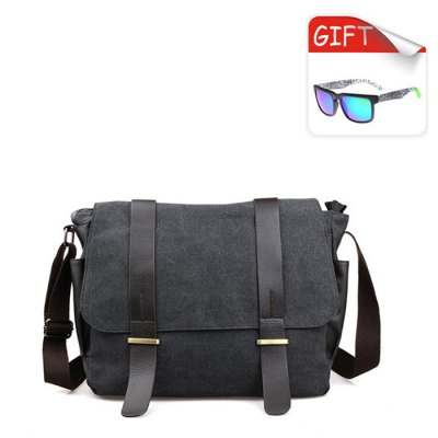 2642 Canvas / PU 15L Leisure Sling Bag with Sunglasses