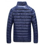 Glazed Zipper Front Stand-up Collar Quilted Jacket deal