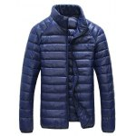 Glazed Zipper Front Stand-up Collar Quilted Jacket