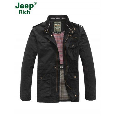Jeep Rich Patched Stand-up Collar Windbreaker Jacket