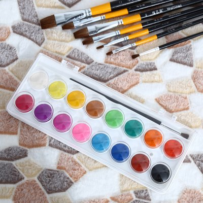 SIMBALION WCC - 16 16 in 1 Solid Watercolor PaintsPainting Supplies<br>SIMBALION WCC - 16 16 in 1 Solid Watercolor Paints<br><br>Brand: SIMBALION<br>Model: WCC - 16<br>Features: Water Color Cake<br>Color: Multi-color<br>Product weight: 0.126 kg<br>Package weight: 0.147 kg<br>Product size (L x W x H): 24.00 x 9.00 x 1.40 cm / 9.45 x 3.54 x 0.55 inches<br>Package size (L x W x H): 25.00 x 10.00 x 2.40 cm / 9.84 x 3.94 x 0.94 inches<br>Package Contents: 1 x SIMBALION WCC - 16 16 in 1 Solid Watercolor Paints, 1 x Painting Brush