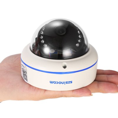 Szsinocam SZ - IPC - 7022SW 1.0MP WiFi IP Dome CameraIP Cameras<br>Szsinocam SZ - IPC - 7022SW 1.0MP WiFi IP Dome Camera<br><br>Alarm Notice: Email Photo<br>Backlight Compensation: No<br>Brand: Szsinocam<br>Color: White<br>Compatible Operation Systems: Windows 10,Windows 7,Windows 8<br>Electronic Shutter: 1/25s - 1/30,000s<br>Environment: Indoor<br>FOV: 72 degree<br>Image Adjustment: Brightness,Color saturation,Contrast,Hue<br>Image Freq.: 25fps<br>Infrared Distance: 25m<br>Infrared LED: 15pcs 5mm LEDs<br>IP camera performance: Night Vision, Real-time video capture and recording, Screenshot, Motion Detection<br>IP Mode : Dynamic IP address, static IP address<br>Language: Chinese,English,Portuguese,Russian<br>Maximum Monitoring Range: 20M<br>Minimum Illumination: 0.01 Lux<br>Mobile Access: Android,IOS<br>Model: SZ - IPC - 7022SW<br>Motion Detection Distance: 30m<br>Network Port: RJ-45<br>Operate Temperature (?): -20 - 50 Celsius degree<br>Operating system: Microsoft Windows 2000,Microsoft Windows 7,Microsoft Windows 8,Microsoft Windows 98,Microsoft Windows Vista,Microsoft Windows XP<br>Package Contents: 1 x IP Camera, 1 x English User Manual, 1 x Power Cord, 1 x CD, 3 x Screw, 3 x Screw Cap, 1 x Screw Driver, 2 x Antenna<br>Package size (L x W x H): 13.00 x 13.50 x 13.00 cm / 5.12 x 5.31 x 5.12 inches<br>Package weight: 0.603 kg<br>Pixels: 1MP<br>Product size (L x W x H): 10.50 x 10.50 x 8.00 cm / 4.13 x 4.13 x 3.15 inches<br>Product weight: 0.360 kg<br>Protocol: DDNS,DHCP,DNS,FTP,HTTP,HTTPS,ICMP,IP,NAS,NTP,P2P,PPPOE,RTCP,RTP,RTSP,SMTP,SNMP,TCP,UPNP<br>Resolution: 1280 x 720<br>Sensor: CMOS<br>Sensor size (inch): 1/4<br>Shape: Dome Camera<br>Technical Feature: Waterproof, Infrared<br>Video Compression Format: H.264<br>Video format: AVI<br>Video Standard: NTSC,PAL<br>Waterproof: IP66<br>Web Browser: IE,Microsoft Internet Explorer 6.0 above<br>White Balance: No<br>WiFi Distance : 40m no obstacles<br>Wireless: WiFi 802.11 b/g/n<br>Working Voltage: DC 12V / 1A