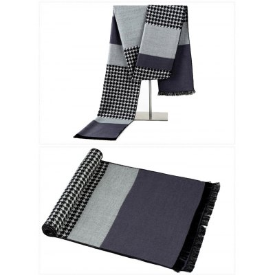 Toasty Houndstooth Splicing Knitted Scarf with Tassel