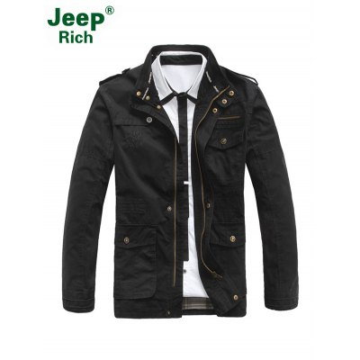 Jeep Rich Patched Stand-up Collar Windbreaker JacketMens Jackets &amp; Coats<br>Jeep Rich Patched Stand-up Collar Windbreaker Jacket<br><br>Closure Type: Zipper<br>Clothes Type: Jackets<br>Collar: Stand-Up Collar<br>Colors: Army green,Black,Khaki<br>Embellishment: Embroidery<br>Materials: Cotton, Polyester<br>Model: Jeep Rich<br>Package Content: 1 x Jacket<br>Package Dimension: 40.00 x 30.00 x 1.00 cm / 15.75 x 11.81 x 0.39 inches<br>Package weight: 1.232 kg<br>Pattern Type: Letter, Patchwork<br>Product weight: 0.800 kg<br>Seasons: Autumn,Winter<br>Shirt Length: Regular<br>Size1: 2XL,3XL,4XL,L,M,XL<br>Sleeve Length: Long Sleeves<br>Style: Fashion<br>Thickness: Thin