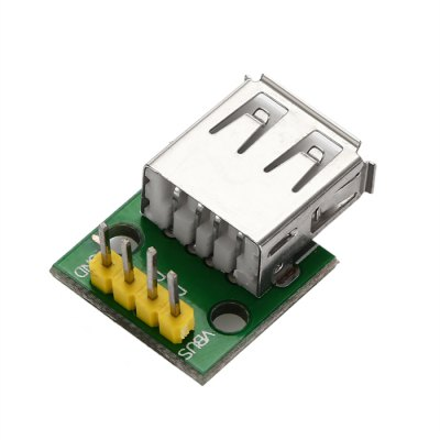 DIY Type A Female USB to 2.54mm DIP 4P Adapter ModuleOther Accessories<br>DIY Type A Female USB to 2.54mm DIP 4P Adapter Module<br><br>Color: Green<br>Package Contents: 1 x Type A Female USB Interface to 2.54mm DIP 4P Adapter Module<br>Package Size(L x W x H): 8.00 x 6.00 x 2.50 cm / 3.15 x 2.36 x 0.98 inches<br>Package weight: 0.024 kg<br>Product Size(L x W x H): 2.30 x 1.70 x 1.00 cm / 0.91 x 0.67 x 0.39 inches<br>Product weight: 0.004 kg