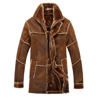 JUSTWIN Men Rough Splicing One Fur Long Jacket