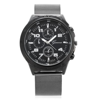 Geneva 449 Casual Men Quartz WatchMens Watches<br>Geneva 449 Casual Men Quartz Watch<br><br>Brand: Geneva<br>Watches categories: Male table<br>Watch style: Casual<br>Available color: Black,Blue,Red,White<br>Movement type: Quartz watch<br>Shape of the dial: Round<br>Display type: Analog<br>Case material: Alloy<br>Band material: Steel<br>Clasp type: Pin buckle<br>Dial size: 4.3 x 4.3 x 1.5 cm / 1.69 x 1.69 x 0.59 inches<br>Band size: 24.5 x 2.2 cm / 9.65 x 0.87 inches<br>Wearable length: 18.2 - 22.5 cm / 7.17 - 8.86 inches<br>Product weight: 0.079 kg<br>Package weight: 0.102 kg<br>Product size (L x W x H): 24.50 x 4.30 x 1.50 cm / 9.65 x 1.69 x 0.59 inches<br>Package size (L x W x H): 25.50 x 5.30 x 2.50 cm / 10.04 x 2.09 x 0.98 inches<br>Package Contents: 1 x Geneva 449 Casual Men Quartz Watch