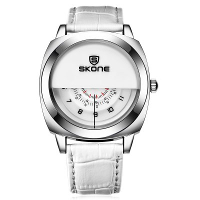 SKONE 1204 Fashion Half Dial Design Men Quartz WatchMens Watches<br>SKONE 1204 Fashion Half Dial Design Men Quartz Watch<br><br>Available Color: Black,Brown,White<br>Band material: Leather<br>Band size: 25.5 x 2 cm / 10.04 x 0.79 inches<br>Brand: Skone<br>Case material: Stainless Steel<br>Clasp type: Pin buckle<br>Dial size: 4.26 x 4.26 x 1.2 cm / 1.68 x 1.68 x 0.47 inches<br>Display type: Analog<br>Movement type: Quartz watch<br>Package Contents: 1 x SKONE 1204 Fashion Men Quartz Watch<br>Package size (L x W x H): 28.00 x 8.00 x 3.50 cm / 11.02 x 3.15 x 1.38 inches<br>Package weight: 0.118 kg<br>Product size (L x W x H): 25.50 x 4.26 x 1.20 cm / 10.04 x 1.68 x 0.47 inches<br>Product weight: 0.058 kg<br>Shape of the dial: Round<br>Watch style: Fashion<br>Watches categories: Male table<br>Water resistance : Life water resistant