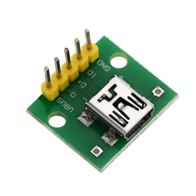 Mini USB Interface to 2.54mm DIP 5P Adapter ModuleOther Accessories<br>Mini USB Interface to 2.54mm DIP 5P Adapter Module<br><br>Color: Green<br>Package Contents: 1 x Mini USB Interface to 2.54mm DIP 5P Adapter Module<br>Package Size(L x W x H): 8.00 x 6.00 x 2.50 cm / 3.15 x 2.36 x 0.98 inches<br>Package weight: 0.022 kg<br>Product Size(L x W x H): 2.00 x 1.80 x 1.00 cm / 0.79 x 0.71 x 0.39 inches<br>Product weight: 0.002 kg