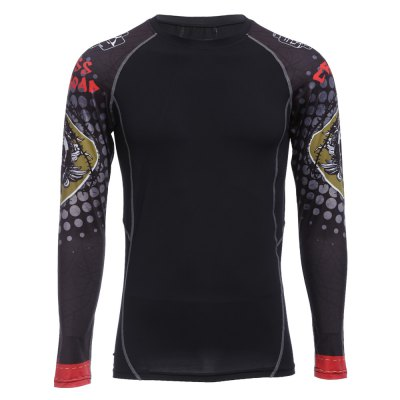 Red Crossroad Skull Print Long Sleeves Compress Tight T-shirt
