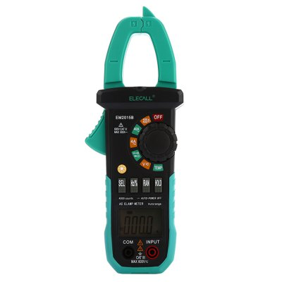 ELECALL EM2015B 4000 Counts Digital Clamp MultimeterMultimeters &amp; Fitting<br>ELECALL EM2015B 4000 Counts Digital Clamp Multimeter<br><br>Brand: ELECALL<br>Model: EM2015B<br>Max. Display: 4000<br>Low Battery Indicator: Yes<br>Data Hold: Yes<br>Backlit Display: Yes<br>Auto power off: Yes<br>Diode Test: Yes<br>Function Protection: Yes<br>Shockproof Protection: Yes<br>Powered by: 3 x AAA Battery<br>Product weight: 0.257 kg<br>Package weight: 0.570 kg<br>Product size (L x W x H): 21.50 x 7.50 x 3.00 cm / 8.46 x 2.95 x 1.18 inches<br>Package size (L x W x H): 24.00 x 16.00 x 5.50 cm / 9.45 x 6.3 x 2.17 inches<br>Package Contents: 1 x Clamp Meter, 1 x Pair of Test Probe ( 78cm ), 1 x Pair of Temp Probe ( 90cm ), 1 x Chinese User Manual, 1 x Bag