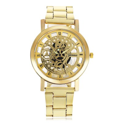 Geneva Fashion Hollow-out Dial Steel Strap Men Quartz WatchMens Watches<br>Geneva Fashion Hollow-out Dial Steel Strap Men Quartz Watch<br><br>Available Color: Gold,Silver<br>Band material: Steel<br>Band size: 20 x 2 cm / 7.87 x 0.79 inches<br>Case material: Alloy<br>Clasp type: Folding clasp with safety<br>Dial size: 4 x 4 x 1 cm / 1.57 x 1.57 x 0.39 inches<br>Display type: Analog<br>Movement type: Quartz watch<br>Package Contents: 1 x Geneva Fashion Men Quartz Watch<br>Package size (L x W x H): 11.00 x 5.00 x 2.00 cm / 4.33 x 1.97 x 0.79 inches<br>Package weight: 0.110 kg<br>Product size (L x W x H): 20.00 x 4.00 x 1.00 cm / 7.87 x 1.57 x 0.39 inches<br>Product weight: 0.069 kg<br>Shape of the dial: Round<br>Watch style: Fashion<br>Watches categories: Male table