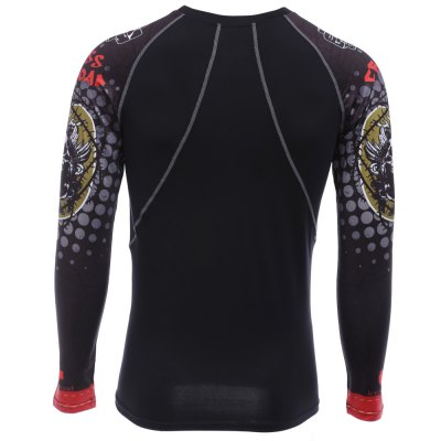 Red Crossroad Skull Print Long Sleeves Compress Tight T-shirtWeight Lifting Clothes<br>Red Crossroad Skull Print Long Sleeves Compress Tight T-shirt<br><br>Color: Black<br>Features: Breathable, High elasticity, Quick Dry<br>Gender: Men<br>Material: Polyester, Spandex<br>Package Content: 1 x Men Tight T-shirt<br>Package size: 27.00 x 25.00 x 3.00 cm / 10.63 x 9.84 x 1.18 inches<br>Package weight: 0.220 kg<br>Product weight: 0.189 kg<br>Size: 2XL,L,M,XL<br>Types: Long Sleeves