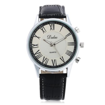 Dalas 6251 Fashion Roman Number Scale Men Quartz WatchMens Watches<br>Dalas 6251 Fashion Roman Number Scale Men Quartz Watch<br><br>Band material: Leather<br>Band size: 25.6 x 2.2 cm / 10.08 x 0.87 inches<br>Brand: Dalas<br>Case material: Alloy<br>Clasp type: Pin buckle<br>Dial size: 4.2 x 4.2 x 1.3 cm / 1.65 x 1.65 x 0.51 inches<br>Display type: Analog<br>Movement type: Quartz watch<br>Package Contents: 1 x Dalas 6251 Fashion Men Quartz Watch<br>Package size (L x W x H): 26.60 x 5.20 x 2.30 cm / 10.47 x 2.05 x 0.91 inches<br>Package weight: 0.112 kg<br>Product size (L x W x H): 25.60 x 4.20 x 1.30 cm / 10.08 x 1.65 x 0.51 inches<br>Product weight: 0.052 kg<br>Shape of the dial: Round<br>Watch color: Black, White + Brown, White + Black<br>Watch style: Fashion<br>Watches categories: Male table<br>Wearable length: 19 - 23.2 cm / 7.48 - 9.13 inches