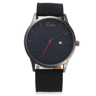 Dalas 9669 Casual Men Quartz WatchMens Watches<br>Dalas 9669 Casual Men Quartz Watch<br><br>Brand: Dalas<br>Watches categories: Male table<br>Watch style: Casual<br>Watch color: Black, Coffee + Black, White + Black, White + Coffee<br>Movement type: Quartz watch<br>Shape of the dial: Round<br>Display type: Analog<br>Case material: Alloy<br>Band material: Leather<br>Clasp type: Pin buckle<br>Special features: Date<br>Water resistance : Life water resistant<br>Dial size: 4.4 x 4.4 x 1 cm / 1.73 x 1.73 x 0.39 inches<br>Band size: 26.2 x 2.4 cm / 10.31 x 0.94 inches<br>Wearable length: 19.8 - 24 cm / 7.80 - 9.45 inches<br>Product weight: 0.047 kg<br>Package weight: 0.088 kg<br>Product size (L x W x H): 26.20 x 4.40 x 1.00 cm / 10.31 x 1.73 x 0.39 inches<br>Package size (L x W x H): 27.20 x 5.40 x 2.00 cm / 10.71 x 2.13 x 0.79 inches<br>Package Contents: 1 x Dalas 9669 Casual Men Quartz Watch