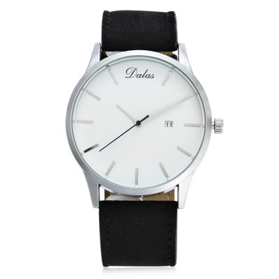 Dalas 9669 Casual Men Quartz WatchMens Watches<br>Dalas 9669 Casual Men Quartz Watch<br><br>Band material: Leather<br>Band size: 26.2 x 2.4 cm / 10.31 x 0.94 inches<br>Brand: Dalas<br>Case material: Alloy<br>Clasp type: Pin buckle<br>Dial size: 4.4 x 4.4 x 1 cm / 1.73 x 1.73 x 0.39 inches<br>Display type: Analog<br>Movement type: Quartz watch<br>Package Contents: 1 x Dalas 9669 Casual Men Quartz Watch<br>Package size (L x W x H): 27.20 x 5.40 x 2.00 cm / 10.71 x 2.13 x 0.79 inches<br>Package weight: 0.088 kg<br>Product size (L x W x H): 26.20 x 4.40 x 1.00 cm / 10.31 x 1.73 x 0.39 inches<br>Product weight: 0.047 kg<br>Shape of the dial: Round<br>Special features: Date<br>Watch color: Black, Coffee + Black, White + Black, White + Coffee<br>Watch style: Casual<br>Watches categories: Male table<br>Water resistance : Life water resistant<br>Wearable length: 19.8 - 24 cm / 7.80 - 9.45 inches