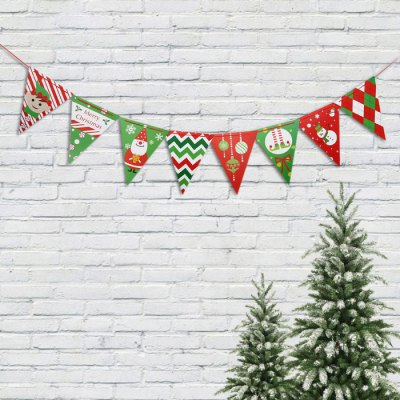 Christmas Cartoon Triangle Wave Flag Banner