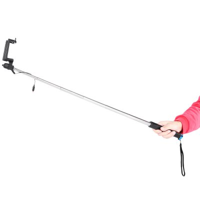 Wire Control Selfie Stick Camera Shutter MonopodStands &amp; Holders<br>Wire Control Selfie Stick Camera Shutter Monopod<br><br>Accessories type: Selfie Stick<br>Clip Holder Range: 5.3 - 8.5cm<br>Extended Length: 73.8cm<br>Features: With Cable, Selfie Stick<br>Folding Length: 18.7cm<br>Material: Stainless Steel<br>Package Contents: 1 x Selfie Stick<br>Package size: 24.20 x 7.00 x 4.50 cm / 9.53 x 2.76 x 1.77 inches<br>Package weight: 0.147 kg<br>Product size: 73.80 x 4.00 x 3.00 cm / 29.06 x 1.57 x 1.18 inches<br>Product weight: 0.103 kg
