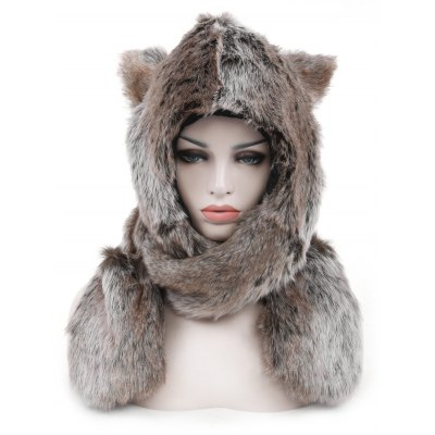 Animal Faux Fur Winter Warm Three-in-one Hat Scarf Gloves
