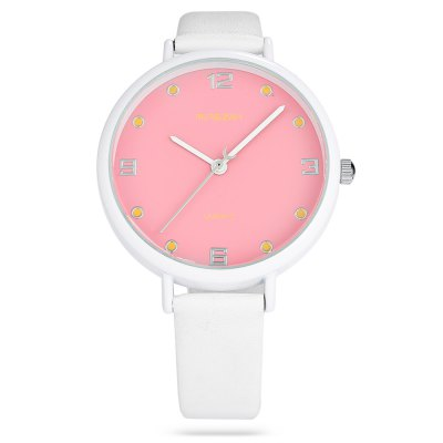 mingzan M6217 Fashion Lady Quartz WatchWomens Watches<br>mingzan M6217 Fashion Lady Quartz Watch<br><br>Available Color: Black,Pink,White,Yellow<br>Band material: PU Leather<br>Band size: 22 x 1.4 cm / 8.66 x 0.55 inches<br>Case material: Alloy<br>Clasp type: Pin buckle<br>Dial size: 3.8 x 3.8 x 0.8 cm / 1.5 x 1.5 x 0.31 inches<br>Display type: Analog<br>Movement type: Quartz watch<br>Package Contents: 1 x mingzan M6217 Fashion Lady Quartz Watch, 1 x Box<br>Package size (L x W x H): 8.50 x 8.00 x 5.00 cm / 3.35 x 3.15 x 1.97 inches<br>Package weight: 0.092 kg<br>Product size (L x W x H): 22.00 x 3.80 x 0.80 cm / 8.66 x 1.5 x 0.31 inches<br>Product weight: 0.031 kg<br>Shape of the dial: Round<br>Watch style: Fashion<br>Watches categories: Female table<br>Water resistance : Life water resistant<br>Wearable length: 16 - 19.8 cm / 6.30 - 7.80 inches