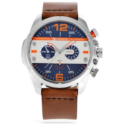 CURREN 8259 Fashion Decorative Sub-dial Men Quartz WatchMens Watches<br>CURREN 8259 Fashion Decorative Sub-dial Men Quartz Watch<br><br>Band material: Leather<br>Band size: 26.7 x 2.3 cm / 10.51 x 0.91 inches<br>Brand: Curren<br>Case material: Stainless Steel<br>Clasp type: Pin buckle<br>Dial size: 4.7 x 4.7 x 1.4 cm / 1.85 x 1.85 x 0.55 inches<br>Display type: Analog<br>Movement type: Quartz watch<br>Package Contents: 1 x CURREN 8259 Fashion Men Quartz Watch, 1 x Box<br>Package size (L x W x H): 11.30 x 8.30 x 7.00 cm / 4.45 x 3.27 x 2.76 inches<br>Package weight: 0.214 kg<br>Product size (L x W x H): 26.70 x 4.70 x 1.40 cm / 10.51 x 1.85 x 0.55 inches<br>Product weight: 0.084 kg<br>Shape of the dial: Round<br>Special features: Decorative sub-dial<br>Watch color: Gray + Red, Orange + Gray, Black + Gray, White + Orange, Red + White, White + Black<br>Watch style: Fashion<br>Watches categories: Male table<br>Water resistance : Life water resistant<br>Wearable length: 19.3 - 24.2 cm / 7.60 - 9.53 inches