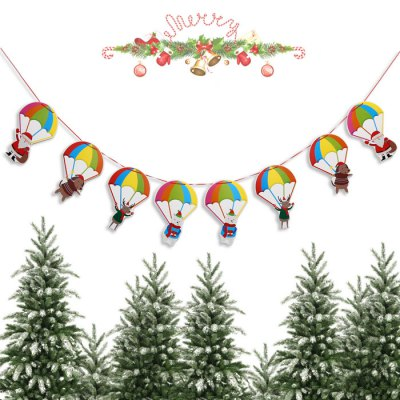 Christmas Cartoon Parachute Wave Flag Banner