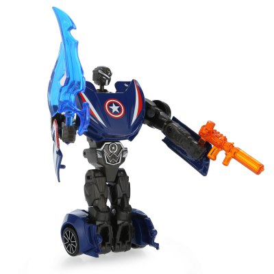3D Transformable Transform Hero Style Robot CarMovies &amp; TV Action Figures<br>3D Transformable Transform Hero Style Robot Car<br><br>Completeness: Finished Goods<br>Gender: Unisex<br>Materials: Alloy, Plastic<br>Package Contents: 1 x Car Model ( with Weapon )<br>Package size: 17.00 x 6.00 x 15.50 cm / 6.69 x 2.36 x 6.1 inches<br>Package weight: 0.150 kg<br>Product size: 10.00 x 5.00 x 3.00 cm / 3.94 x 1.97 x 1.18 inches<br>Product weight: 0.072 kg<br>Stem From: Europe and America<br>Theme: Movie and TV