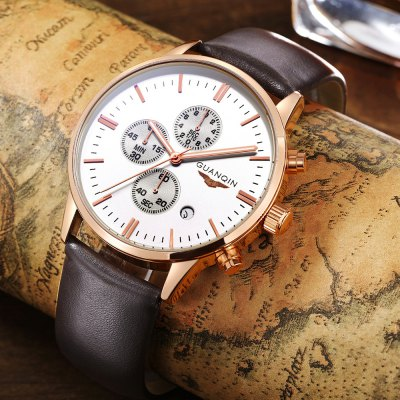 GUANQIN GQ12006 Fashion Men Quartz WatchMens Watches<br>GUANQIN GQ12006 Fashion Men Quartz Watch<br><br>Brand: GUANQIN<br>Watches categories: Male table<br>Watch style: Fashion<br>Watch color: Silver + White, Gold + White, Coffee + Gold, Black + Gold, Silver + Black<br>Movement type: Quartz watch<br>Shape of the dial: Round<br>Display type: Analog<br>Case material: Stainless Steel<br>Band material: Genuine Leather<br>Clasp type: Pin buckle<br>Special features: Date,Working sub-dial<br>Dial size: 4.3 x 4.3 x 1.01 cm / 1.69 x 1.69 x 0.40 inches<br>Band size: 22 x 2.2 cm / 8.66 x 0.87 inches<br>Product weight: 0.060 kg<br>Package weight: 0.165 kg<br>Product size (L x W x H): 22.00 x 4.30 x 1.01 cm / 8.66 x 1.69 x 0.4 inches<br>Package size (L x W x H): 14.90 x 9.40 x 2.80 cm / 5.87 x 3.7 x 1.1 inches<br>Package Contents: 1 x GUANQIN GQ12006 Fashion Men Quartz Watch, 1 x Box