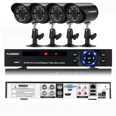FLOUREON P4-E4004H-US DVR and IR-CUT Camera Security Kit