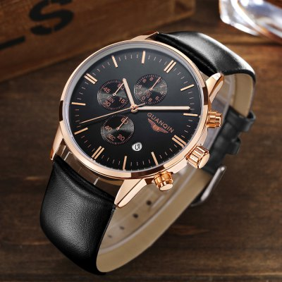 GUANQIN GQ12006 Fashion Men Quartz WatchMens Watches<br>GUANQIN GQ12006 Fashion Men Quartz Watch<br><br>Band material: Genuine Leather<br>Band size: 22 x 2.2 cm / 8.66 x 0.87 inches<br>Brand: GUANQIN<br>Case material: Stainless Steel<br>Clasp type: Pin buckle<br>Dial size: 4.3 x 4.3 x 1.01 cm / 1.69 x 1.69 x 0.40 inches<br>Display type: Analog<br>Movement type: Quartz watch<br>Package Contents: 1 x GUANQIN GQ12006 Fashion Men Quartz Watch, 1 x Box<br>Package size (L x W x H): 14.90 x 9.40 x 2.80 cm / 5.87 x 3.7 x 1.1 inches<br>Package weight: 0.165 kg<br>Product size (L x W x H): 22.00 x 4.30 x 1.01 cm / 8.66 x 1.69 x 0.4 inches<br>Product weight: 0.060 kg<br>Shape of the dial: Round<br>Special features: Working sub-dial, Date<br>Watch color: Silver + White, Gold + White, Coffee + Gold, Black + Gold, Silver + Black<br>Watch style: Fashion<br>Watches categories: Male table