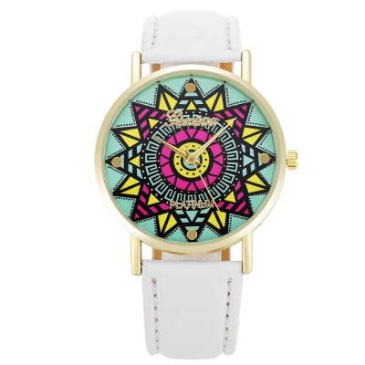 Geneva Fashion Colorful Flower Pattern Dial Lady Quartz WatchWomens Watches<br>Geneva Fashion Colorful Flower Pattern Dial Lady Quartz Watch<br><br>Available Color: Black,Blue,Pink,White<br>Band material: PU Leather<br>Band size: 24 x 2 cm / 9.45 x 0.79 inches<br>Brand: Geneva<br>Case material: Alloy<br>Clasp type: Pin buckle<br>Dial size: 3.8 x 3.8 x 0.6 cm / 1.5 x 1.5 x 0.24 inches<br>Display type: Analog<br>Movement type: Quartz watch<br>Package Contents: 1 x Geneva Fashion Lady Quartz Watch<br>Package size (L x W x H): 25.00 x 4.80 x 0.70 cm / 9.84 x 1.89 x 0.28 inches<br>Package weight: 0.058 kg<br>Product size (L x W x H): 24.00 x 3.80 x 0.60 cm / 9.45 x 1.5 x 0.24 inches<br>Product weight: 0.024 kg<br>Shape of the dial: Round<br>Watch style: Fashion<br>Watches categories: Female table<br>Wearable length: 18 - 21.5 cm / 7.09 - 8.46 inches
