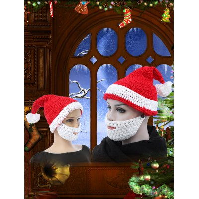 Christmas Parent-child Santa Claus Knitted Hat with Beard