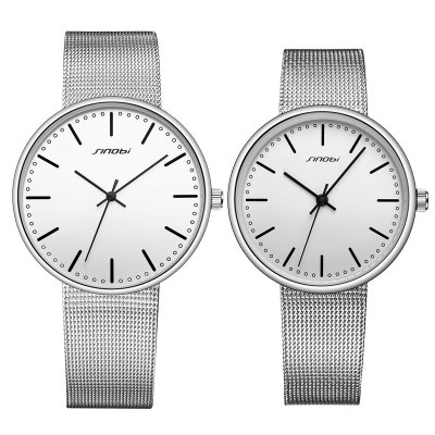 Sinobi 9601G Fashion 3ATM Waterproof Couple WatchesCouples Watches<br>Sinobi 9601G Fashion 3ATM Waterproof Couple Watches<br><br>Brand: Sinobi<br>Watches categories: Couple tables<br>Watch style: Fashion<br>Watch color: Silver + White, Silver + Black, White + Black, White + Brown<br>Shape of the dial: Round<br>Movement type: Quartz watch<br>Display type: Analog<br>Case material: Alloy<br>Band material: Stainless Steel<br>Clasp type: Hook buckle<br>Water resistance : 30 meters<br>Package weight: 0.179 kg<br>Package size (L x W x H): 28.00 x 8.00 x 3.50 cm / 11.02 x 3.15 x 1.38 inches<br>The male dial dimension (L x W x H): 4.02 x 4.02 x 0.77 cm / 1.58 x 1.58 x 0.30 inches<br>The male watch band dimension (L x W): 22.5 x 1.86 cm / 8.86 x 0.73 inches<br>The male watch weight: 0.053kg<br>The male watch size (L x W x H): 22.5 x 4.02 x 0.77 cm / 8.86 x 1.58 x 0.30 inches<br>The female dial dimension (L x W x H): 3.24 x 3.24 x 0.77 cm / 1.28 x 1.28 x 0.30 inches<br>The female watch band dimension (L x W): 21.5 x 1.5 cm / 8.46 x 0.59 inches<br>The female watch weight: 0.036kg<br>The female size (L x W x H): 21.5 x 3.24 x 0.77 cm / 8.46 x 1.28 x 0.30 inches<br>Package Contents: 1 x Sinobi 9601G Fashion Couple Watches