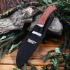 Tonife HKT4002 Browning Pocket Knife with Fixed Blade Wooden Handle deal