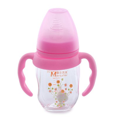 Morsafer Glass Baby Milk Bottle with Anti-slip Handle