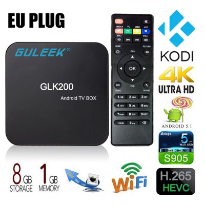 Guleek GLK200 Amlogic S905 Quad-core 64bit Box Android TV DevicesTV Box &amp; Mini PC<br>Guleek GLK200 Amlogic S905 Quad-core 64bit Box Android TV Devices<br><br>5G WiFi: No<br>Audio format: AAC, AC3, DTS, FLAC, MP3, OGG, WMA, WAV, APE<br>Brand: Guleek<br>Color: Black<br>Core: 2.0GHz<br>CPU: Amlogic S905<br>Decoder Format: H.264, H.265<br>DVD Support: Yes<br>External Subtitle Supported: Yes<br>GPU: Mali-450<br>HDMI Version: 1.0<br>Interface: TF card, USB2.0, SPDIF, SD Card Slot, HDMI, Ethernet, DC 5V, AV<br>Language: Multi-language<br>Maximum External Hard Drives Capacity: 128GB<br>Model: GLK200<br>Other Functions: Others<br>Package Contents: 1 x Guleek GLK200 TV Box, 1 x Remote Control, 1 x HDMI Extension Cable, 1 x Charger Adaptor, 1 x English Manual<br>Package size (L x W x H): 12.30 x 13.90 x 5.70 cm / 4.84 x 5.47 x 2.24 inches<br>Package weight: 0.5200 kg<br>Photo Format: BMP, JPG, GIF, JPEG<br>Power Supply: USB Port<br>Power Type: External Power Adapter Mode<br>Product size (L x W x H): 11.70 x 11.70 x 2.60 cm / 4.61 x 4.61 x 1.02 inches<br>Product weight: 0.2000 kg<br>RAM: 1G RAM<br>RAM Type: DDR3<br>ROM: 8G ROM<br>Support 5.1 Surround Sound Output: Yes<br>System: Android 5.1<br>System Bit: 64Bit<br>Type: TV Box<br>Video format: 1080P, H.265, H.264, AVS, 4K